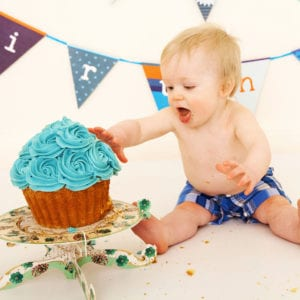 Birthday baby cake smash photography session
